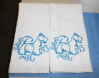 Pair of hand towels Scottish Terrier / Scotty Dog EMBROIDERED 15 x 25 inch for kitchen / bath