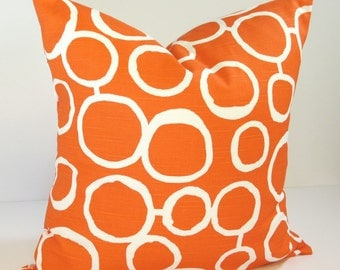 ORANGE PILLOW. Invisible Zipper. 13 Sizes Available. Custom Sizes & Detailing Available. Designer Fabric from Premier Prints