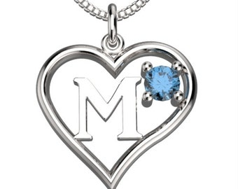 "BirthStone  Heart Letter M Sterling Silver Pendant &18"" Necklace December Blue Zircon"