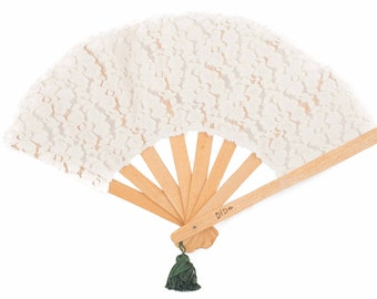 "Crafted Wooden Hand Fan , ""fluffy cream"" lace fabric"