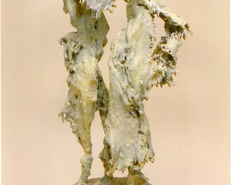 """Tango - Unique, One of a Kind Abstract Sculpture.  Burlap dipped in Plaster..   27"""" x 13"""" x 9"""""""