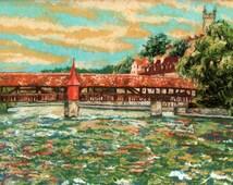 Spreuer Bridge, Lucerne, Bridge in Switzerland, Original Painting, Pastel Landscape, Impressionist Art