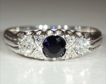 Vintage 18k Sapphire and Diamond Ring Hallmarked London 1975