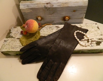 Vintage Mid Century Black Kid Gloves Size 6 1/2 in Original Box Myers Brothers Italy