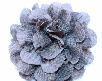 "Large 4.5"" Grey Silk Tulle Flower"