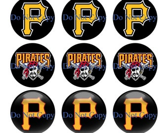 INSTANT DOWNLOAD Pittsburgh Pirates - 4x6 Bottle Cap Images 1'' Circles Digital Collage Sheet