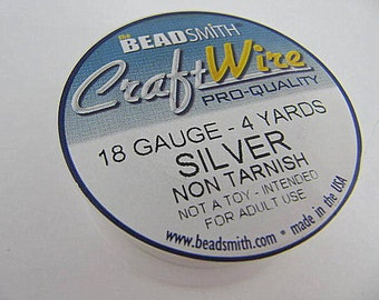 Silver Craft Wire 18 Gauge Round , Spool, Non-Tarnish, Silver Plated, 4 Yards, Beadsmith, Wire Wrapping, Soft Temper