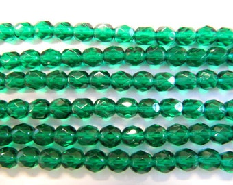 Faceted 6mm Round Beads Fire Polished Glass Beads, Teal, Czech Glass, 25 beads, Choose One or Two Strands,Teal Green