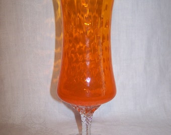 Tangerine Optic Glass Compote / Vase