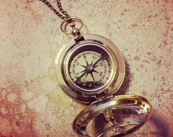 Sundial Compass Necklace, Nautical, Shiny Brass, Glass - Charm and Chain, Vintage Style
