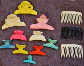 80s Hair Clips, Combs & Accessories Lot of 13