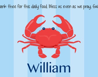Personalized Placemat - Kids Placemat - Childrens Placemat - Childs Placemat - Laminated Placemat - Baptism Gift - Nautical Red Crab