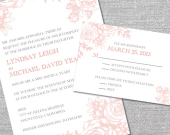 Printable Wedding Invitation and Reply Card | 5x7/3.5x5