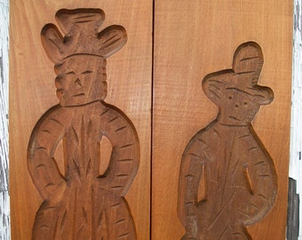 Vintage Dutch Cookie Molds Gingerbread Man and Woman Cookie Mold Hand Carved Wooden Dutch Speculaas Springerle Mold