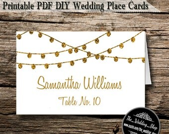 Instant Download- Printable PDF DIY White & Gold Glitter Effect String Lights Modern Wedding Tent Style Template 4 Place Cards Per Sheet