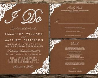 Printable Wedding Invitation Set - Invitation - RSVP Card - Details Card - DIY Wedding - I Do: White Lace On Brown Paper Collection Design