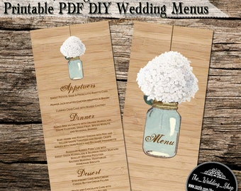 White Hydrangea & Blue Mason Jar  Rustic DIY  Wedding Menus Printable PDF