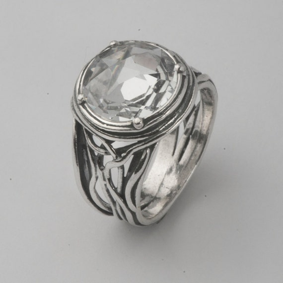 Amazing Sterling Silver Ring Round White By