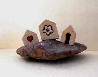 Ceramic miniature houses on natural stone , ceramic sculpture , clay houses , ceramic and pottery collectible item / tiny up to 2""