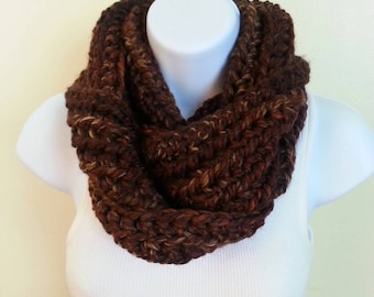 Chunky cowl  - brown, copper and black