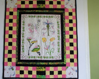 Quilt, Funny critter handmade patchwork baby quilt toddler quilt pink quilt black quilt yellow quilt play,lt patchwork quilt crawl on quilt