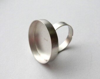 25mm round bezel 925 sterling silver ring base