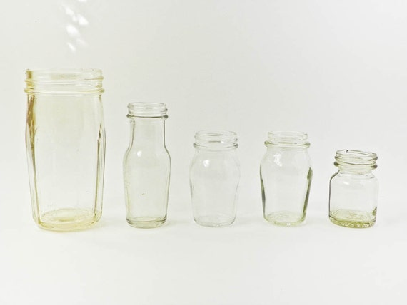 set of five clear glass jars wide mouth by macwadestudios. Black Bedroom Furniture Sets. Home Design Ideas