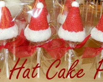 12 Santa Hat Cake Pops Christmas Cake Pops  Sweets Table Party Favors