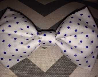 Baby boy bow tie-White Polka Dot Bow Tie-White with Blue Polka Dots-Clip-On-Newborn-Infant-Toddler-Bow Tie
