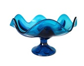 Turquoise Art Glass, Viking Compote, 1960s