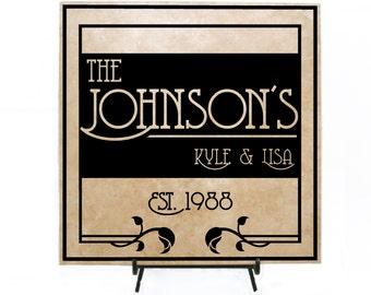 Personalized Welcome Sign, Personalized Wood Sign, Personalized Tile Sign Anniversary Tile, Welcome Sign, Welcome Tile, Custom Tile, Wedding