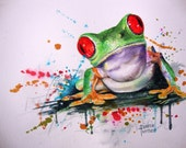 Kids Wall Art TREE FROG WATERCOLOR Painting Giclee Art Print  from my original watercolor painting of a frog, Childs Room Decor 8 x 10