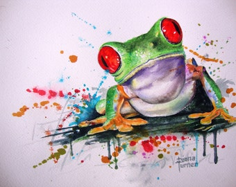 Watercolor Painting of Tree Frog, this is a Giclee Print from my original watercolor painting of a frog wall art, Childs Room Decor