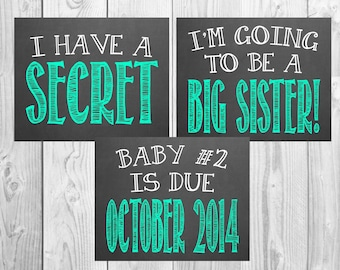 Pregnancy Announcement Chalkboard Photo Prop | Big Sister | Set of 3 Files | Size: 11x14 | *Digital File* | by MMasonDesigns