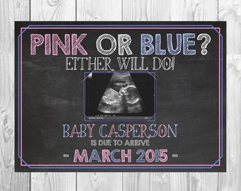 Printable Pregnancy Announcement Card | Pink or Blue? Either Will Do! | Size: 5x7 | *Digital File* | by MMasonDesigns