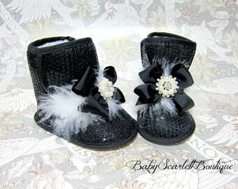 Black Sequin Baby Girl Crib Boot