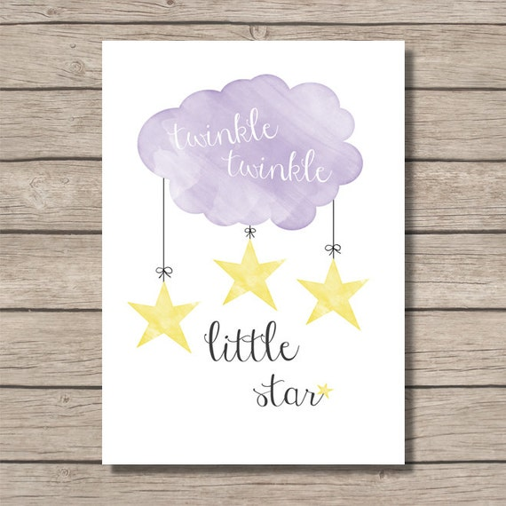 Items similar to nursery printable twinkle twinkle little for Baby shower wall mural