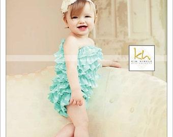 Aqua polka dot petti romper - vintage inspired romper - aqua dress - 1st birthday outfit