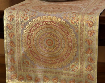 Exotic Oriental Table Runner (Golden Silver)