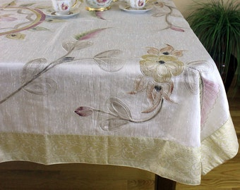 """Hand Painted Floral Rectangular Tablecloth (Beige, 60"""" X 104"""")"""