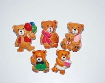 Vintage Ceramic Teddy Bear Balloon Bows Baby Birthday Pins Lot Set World Trend 1983-5