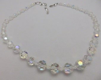 Vinatge  Aurora Borealis Clear Faceted Crystal Necklace