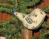 Hand Made Birds Primitive  Tree Ornament beautiful country cream, blue with little brown dots