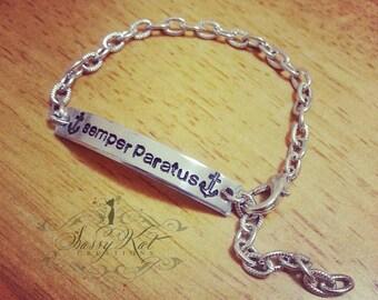 "Hand stamped ""Semper Paratus"" Petite cuff bracelet"