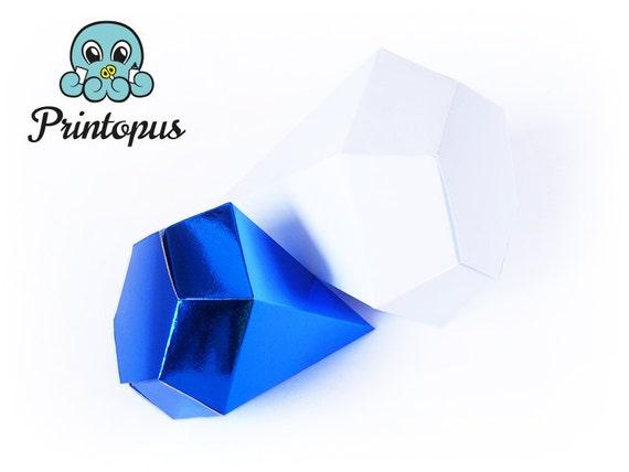 Diamond Shape Printable Gift Box Template PDF Digital File