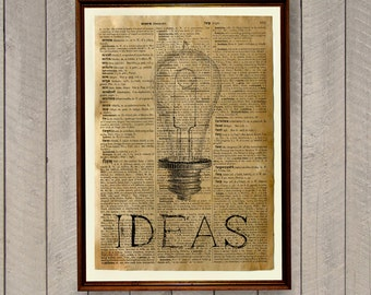 Ideas poster Vintage decor Dictionary page Light bulb print WA43