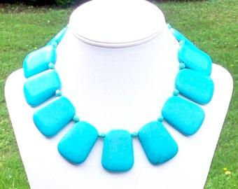 Unique Turquoise Necklace HUGE Turquoise Necklace Turquoise Statement Necklace Large Turquoise Necklace 40mm x 30mm Ladder Gemstones