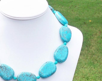 Beckie - Gorgeous Chunky 30mm Round Turquoise Gemstone and Czech Glass Beaded Necklace