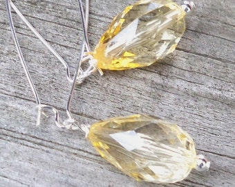 Raina - Faceted Pale Yellow Briolette Beaded Silver Kidney Hoop Dangle Earrings
