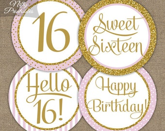Sweet 16 Birthday Cupcake Toppers - Sweet Sixteen Pink & Gold Glitter Printable - DIY 16th Birthday Party Toppers - Sweet 16 Decorations PGL